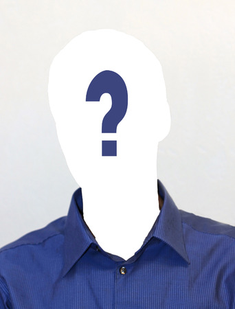 Faceless person on a passport picture, design for job vacancy, applicant wanted Stockfoto