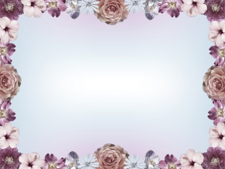 sympathy:  Frame with pastel colored flowers and color gradient copy space, vintage sympathy card design Stock Photo
