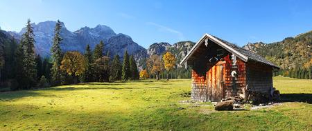 Alpine cabin at rhontal valley, karwendel, austrian landscape