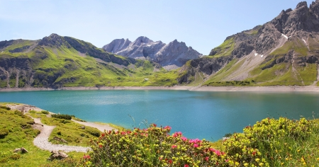 Beautiful view to dam lake luner see, vorarlberg, austrian landscape