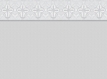 Light grey background with ornamental border, made of christian cross symbols, copy space Stock Photo