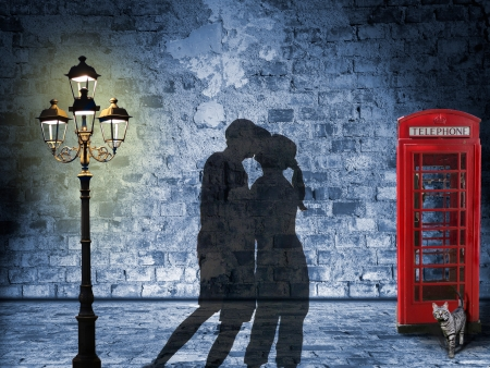Kissing couple silhouette in the streets of london, night scenery with glooming lantern and british phone box, retro style with dark edges