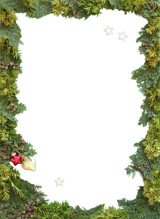 jew: christmas frame of natural thuja and jew twigs with copy space