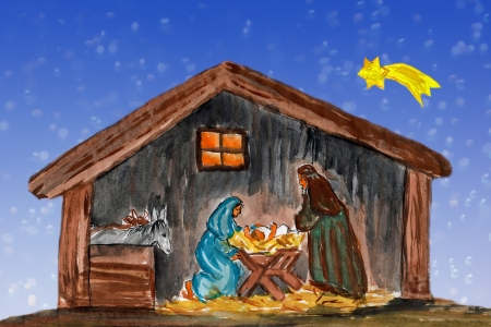 nascita di gesu: Notturno Natale mary paesaggio e Giuseppe in una mangiatoia con il bambino Ges� nel presepe, pittura ad acquerello