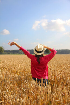 Girl with hat in the wheat field, back side view photo