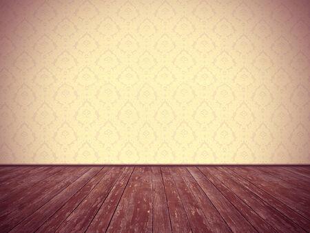 Vintage room design  floral wallpaper and weathered wooden floor, with dark edges