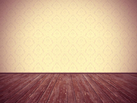 Weinleseraum Design Blumentapete und verwitterte Holzboden, mit dunklen Rändern