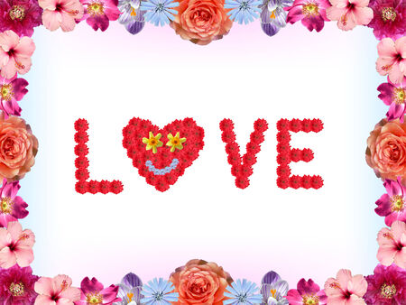 floral valentines card - love, made of isolated hibiscus paeony gerber daisies and roses