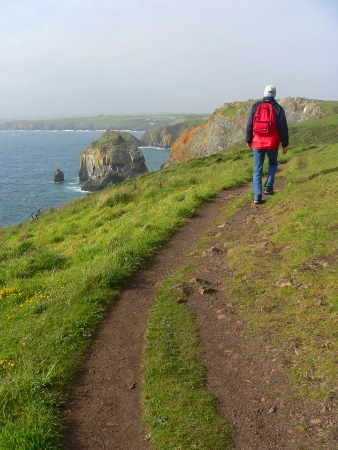 back view of a man walking on a coastal hiking path, south england