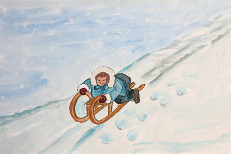 piste: sledding child on a snowy slope, children watercolor painting