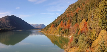 artificial lake sylvenstein in autumn colors photo
