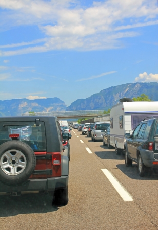 southward: Traffic jam at the main travel time in a southward direction, europe