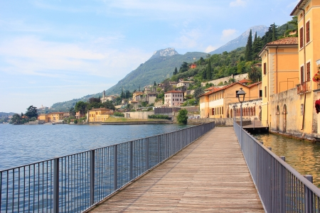 Lakeside promenade gargnano and garda lake, romantic mood photo