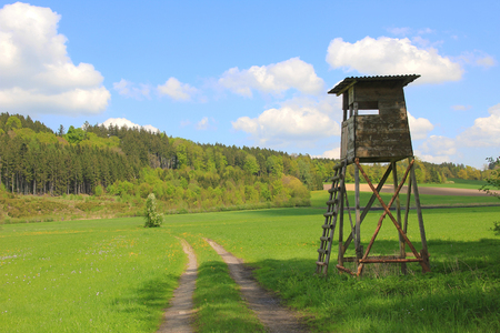 Hunters seat and pasture, german landscape