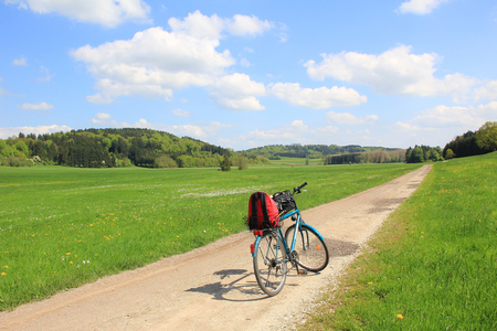 Bicycle tour in the green valley, german landscape  photo
