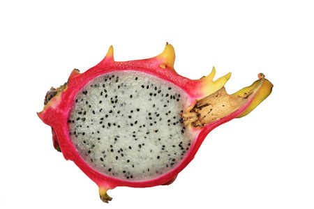 A half dragon fruit, isolated on white background photo