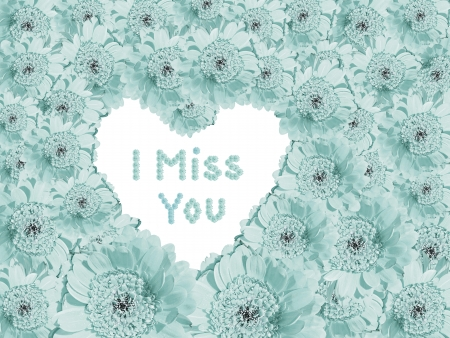 i miss you: Light blue flower background with heart shaped copy space and text message  I miss You