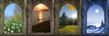 moonlight: Collage four seasons - view through arched castle window  Stock Photo