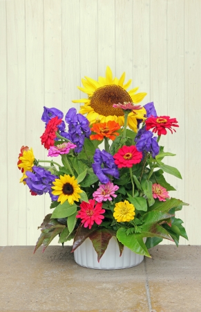 Flower basket with colorful autumnal flowers, decorartion for thanksgiving photo