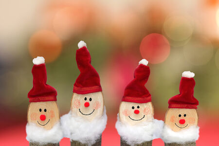 dwarf christmas: Four gnomes for Christmas, handcrafted Stock Photo