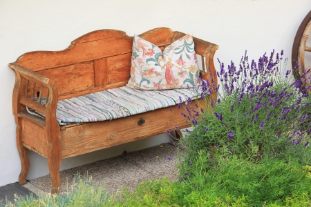 old hand crafted wooden settee, vintage style photo