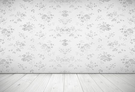 Nostalgic living room design with vintage rose wallpaper, light grey  photo
