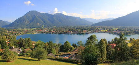 Panoramic view to health resort lake tegernsee and rottach-egern