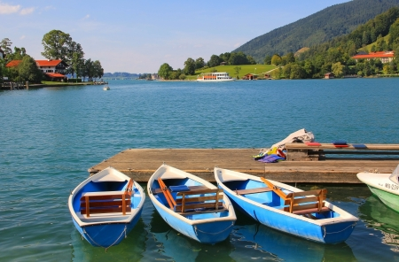 Rowing boats at lake tegernsee, germany