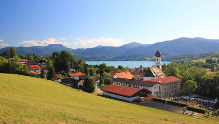 Panoramic view to health resort Gmund am Tegernsee in summer