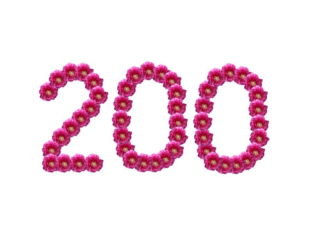 number 200 - made of isolated flowers