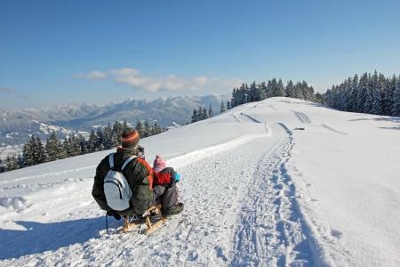 썰매, 바이에른 산에 아버지와 아들