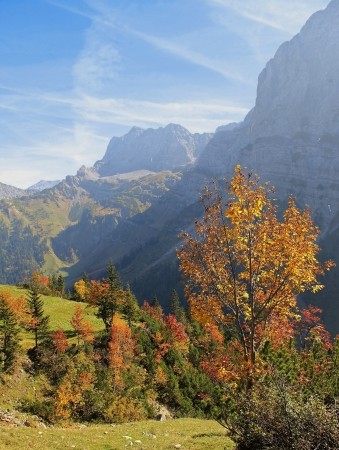 karwendel valley and mountains, austrian autumn landscape  photo
