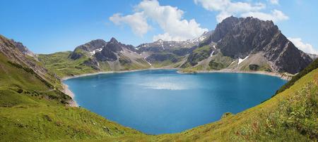 Artificial lake lunersee and glacier, austria  photo