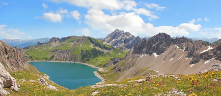 Beautiful panoramic view to lunersee and austrian alps  photo