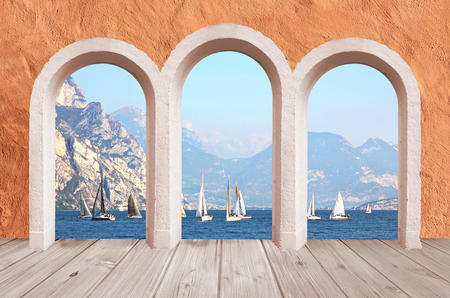 beautiful arcade, vintage wall mediterranean style with lake view to sail boats and mountains