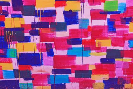 vivid colors: Modern street art wall graffiti in vivid colors  Stock Photo
