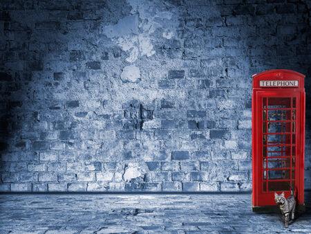 Nächtliche Landschaft in den Straßen von London, mit Telefonzelle und Katze Lizenzfreie Bilder