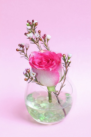 pastel pink rose bud and wax flower in a glass with transparent glass stones, against, light pink background, festive decoration photo