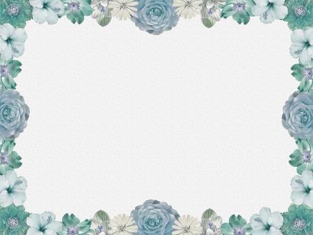 vintage pastel colored flower frame on grey sparkled background, nostalgic design