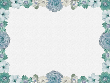 condolence: vintage pastel colored flower frame on grey sparkled background, nostalgic design