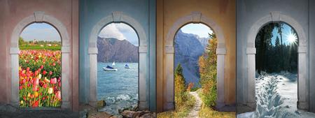collage four seasons - tulip field, garda lake, karwendel valley, winter forest