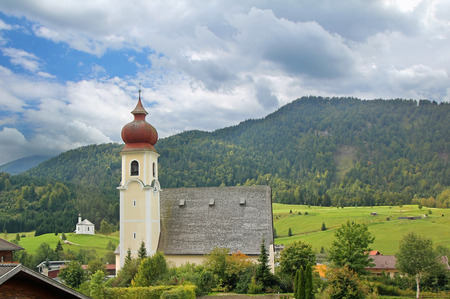 Picturesque chapel of achenkirch, idyllic austrian landscape photo