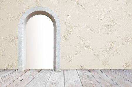 room design with rustic wooden floor and marbled wallpaper, open gate with copy space, retro style