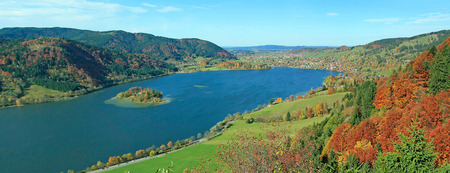 Panoramic view to autumnal landscape schliersee  photo