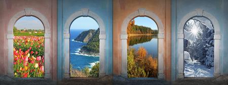 Collage di quattro stagioni - campo di tulipano, paesaggio costiero, stagno autunno, inverno foresta Archivio Fotografico - 26132386
