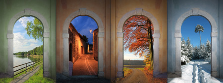 view through door: collage four seasons - lakeside, nightly alley, autumnal country road, wintry footpath in the forest  Stock Photo
