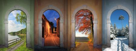 Collage vier Jahreszeiten - See, nächtliche Gasse, herbstlichen Landstraße, winterlichen Wanderweg in den Wald