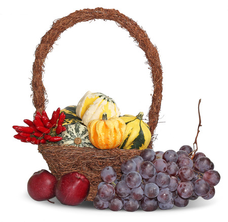 Thanksgiving basket with grapes, apples and pumpkins  photo