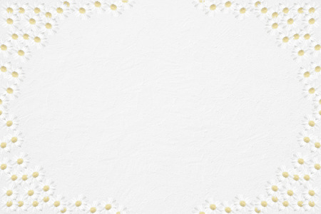 marguerite: light grey background with frame of cutout half transparent marguerite flowers, card design  Stock Photo