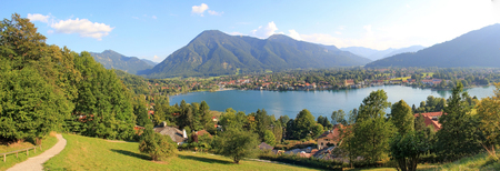 destination scenic: Panoramic view to lake tegernsee, german destination scenic